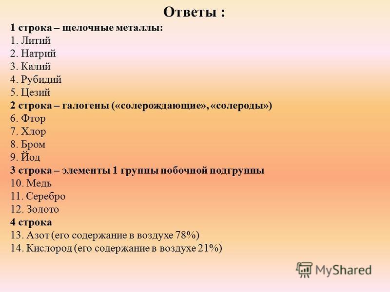 Ответы : 1 строка – щелочные металлы: 1. Литий 2. Натрий 3. Калий 4. Рубидий 5. Цезий 2 строка – галогены («солерождающие», «солероды») 6. Фтор 7. Хлор 8. Бром 9. Йод 3 строка – элементы 1 группы побочной подгруппы 10. Медь 11. Серебро 12. Золото 4 с