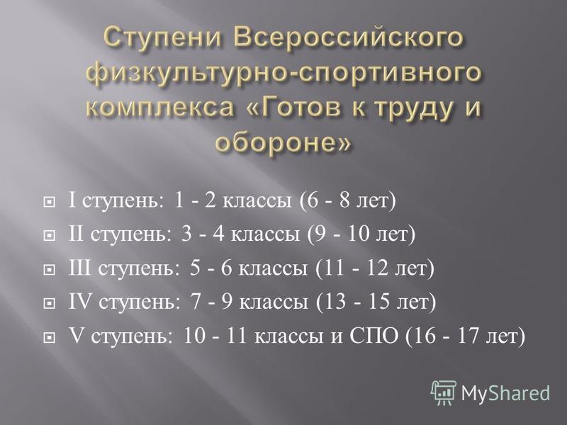 I ступень : 1 - 2 классы (6 - 8 лет ) II ступень : 3 - 4 классы (9 - 10 лет ) III ступень : 5 - 6 классы (11 - 12 лет ) IV ступень : 7 - 9 классы (13 - 15 лет ) V ступень : 10 - 11 классы и СПО (16 - 17 лет )
