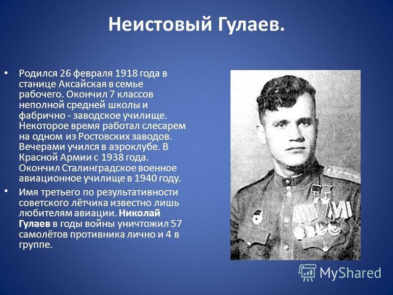 Неистовый Гулаев. Родился 26 февраля 1918 года в станице Аксайская в семье рабочего. Окончил 7 классов неполной средней школы и фабрично - заводское училище. Некоторое время работал слесарем на одном из Ростовских заводов. Вечерами учился в аэроклубе