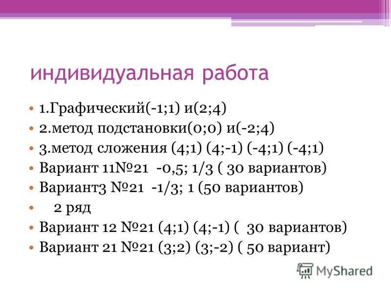 индивидуальная работа 1.Графический(-1;1) и(2;4) 2. метод подстановки(0;0) и(-2;4) 3. метод сложения (4;1) (4;-1) (-4;1) (-4;1) Вариант 1121 -0,5; 1/3 ( 30 вариантов) Вариант 3 21 -1/3; 1 (50 вариантов) 2 ряд Вариант 12 21 (4;1) (4;-1) ( 30 вариантов