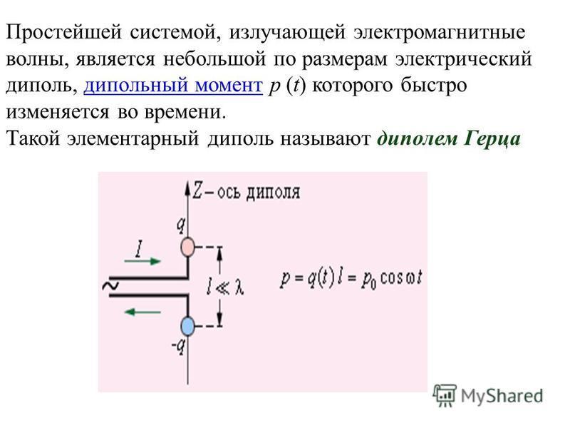 Простейшей системой, излучающей электромагнитные волны, является небольшой по размерам электрический диполь, дипольный момент p (t) которого быстро изменяется во времени. дипольный момент Такой элементарный диполь называют диполем Герца