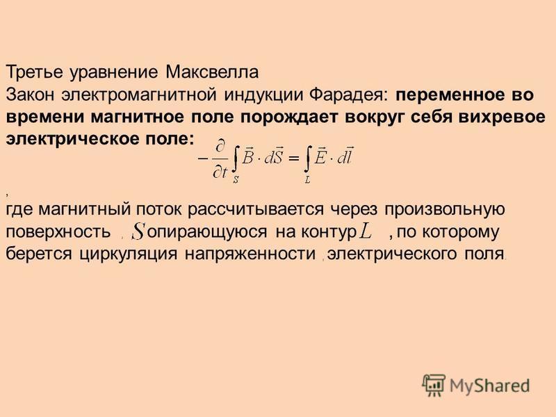 Третье уравнение Максвелла Закон электромагнитной индукции Фарадея: переменное во времени магнитное поле порождает вокруг себя вихревое электрическое поле:, где магнитный поток рассчитывается через произвольную поверхность, опирающуюся на контур, по