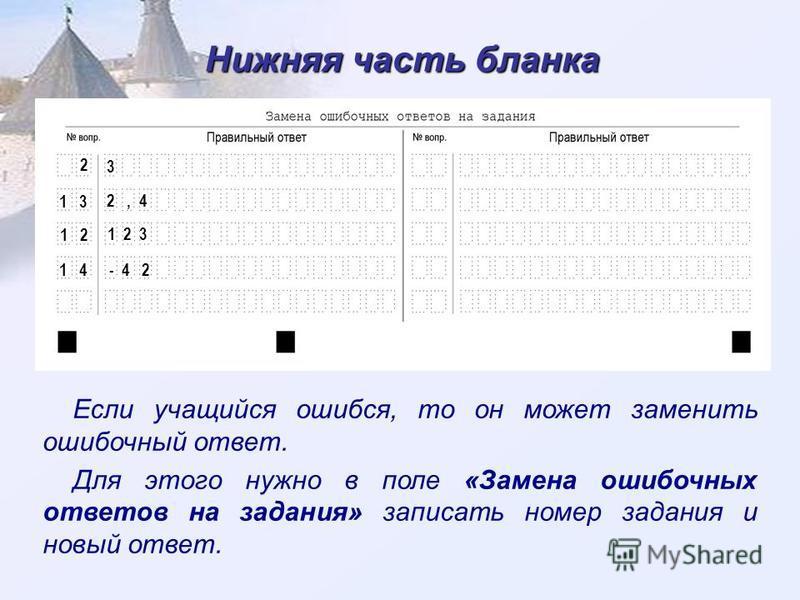 Нижняя часть бланка Если учащийся ошибся, то он может заменить ошибочный ответ. Для этого нужно в поле «Замена ошибочных ответов на задания» записать номер задания и новый ответ. 2 3 1 3 2, 4 1 2 1 2 3 1 4 - 4 2