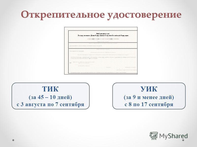 Открепительное удостоверение ТИК (за 45 – 10 дней) с 3 августа по 7 сентября УИК (за 9 и менее дней) с 8 по 17 сентября
