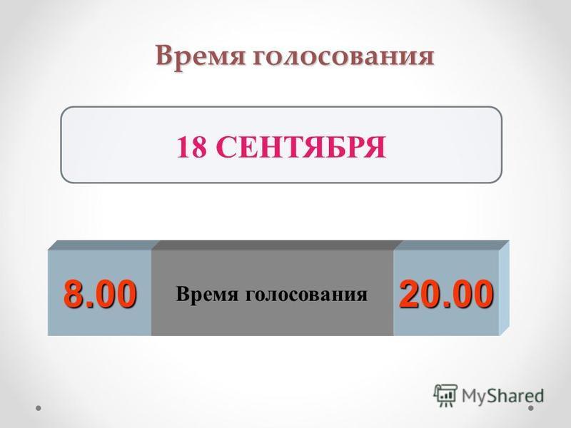 Время голосования 8.00 20.00 18 СЕНТЯБРЯ