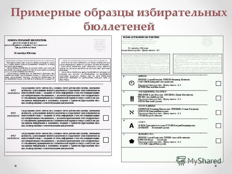 Примерные образцы избирательных бюллетеней
