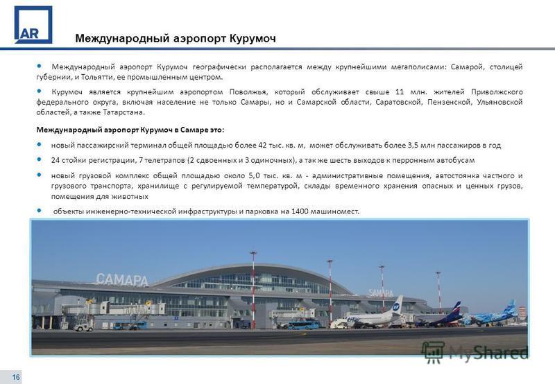 16 Международный аэропорт Курумоч Международный аэропорт Курумоч географически располагается между крупнейшими мегаполисами: Самарой, столицей губернии, и Тольятти, ее промышленным центром. Курумоч является крупнейшим аэропортом Поволжья, который обс