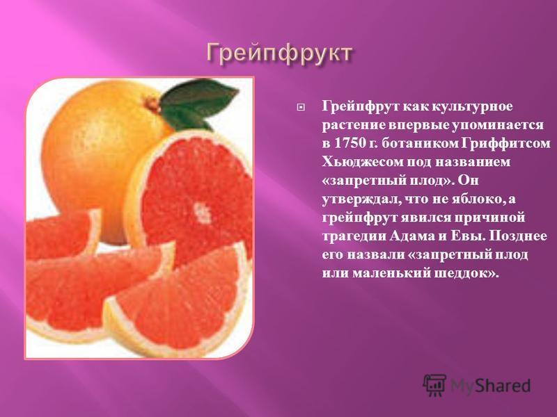 Грейпфрут как культурное растение впервые упоминается в 1750 г. ботаником Гриффитсом Хьюджесом под названием « запретный плод ». Он утверждал, что не яблоко, а грейпфрут явился причиной трагедии Адама и Евы. Позднее его назвали « запретный плод или м