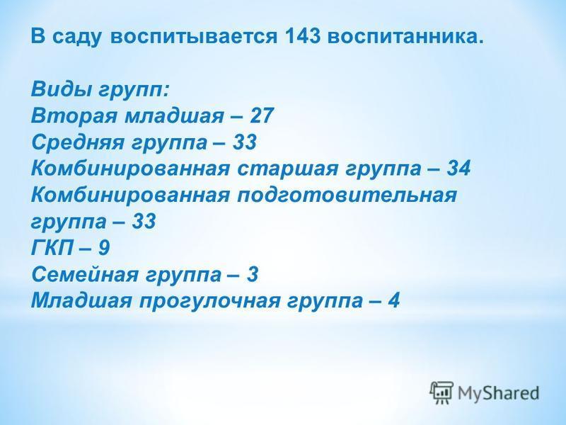 В саду воспитывается 143 воспитанника. Виды групп: Вторая младшая – 27 Средняя группа – 33 Комбинированная старшая группа – 34 Комбинированная подготовительная группа – 33 ГКП – 9 Семейная группа – 3 Младшая прогулочная группа – 4