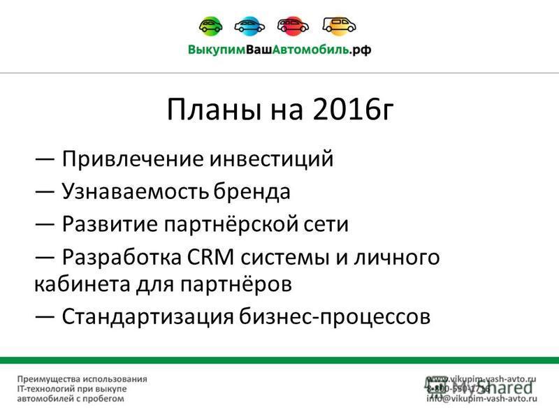 Планы на 2016 г Привлечение инвестиций Узнаваемость бренда Развитие партнёрской сети Разработка CRM системы и личного кабинета для партнёров Стандартизация бизнес-процессов