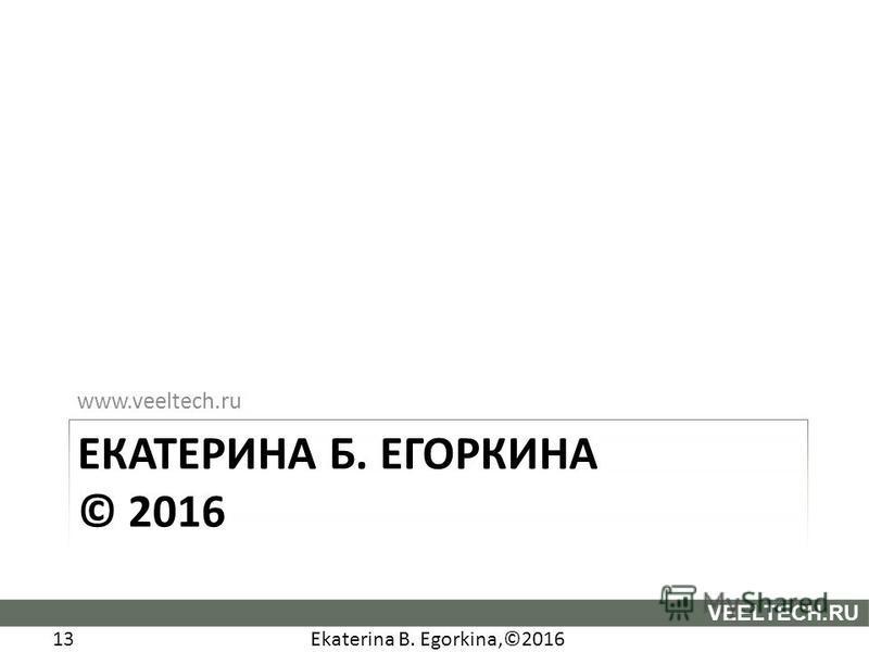 Ekaterina B. Egorkina,©2016 13 VEELTECH.RU www.veeltech.ru