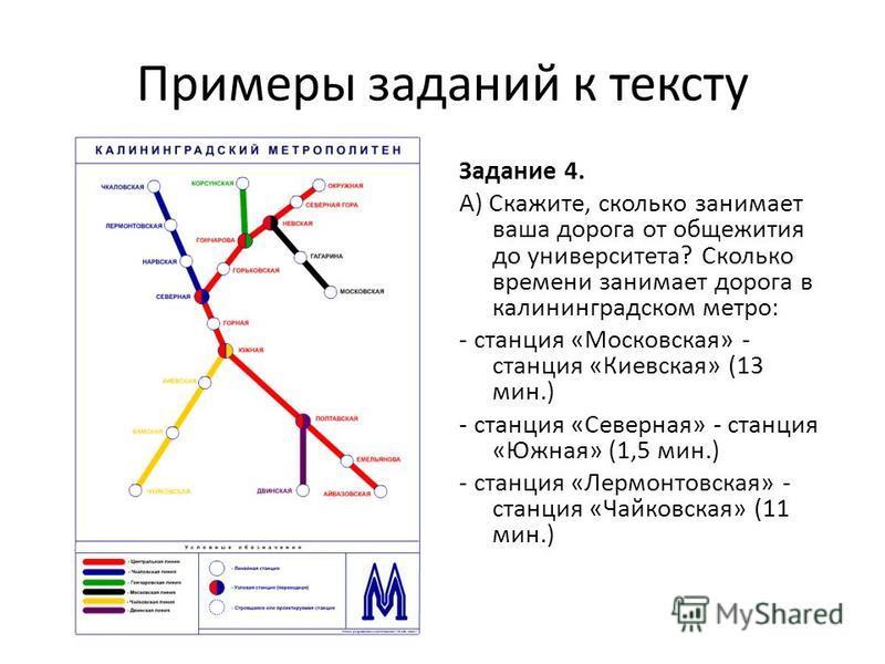 Примеры заданий к тексту Задание 4. А) Скажите, сколько занимает ваша дорога от общежития до университета? Сколько времени занимает дорога в калининградском метро: - станция «Московская» - станция «Киевская» (13 мин.) - станция «Северная» - станция «