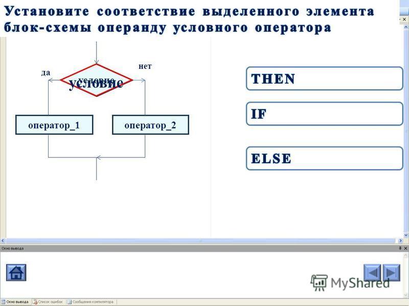 оператор_1 условие оператор_2 нет да условие