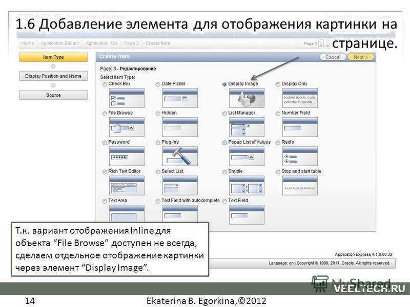 Ekaterina B. Egorkina,©2012 14 VEELTECH.RU Т.к. вариант отображения Inline для объекта File Browse доступен не всегда, сделаем отдельное отображение картинки через элемент Display Image.