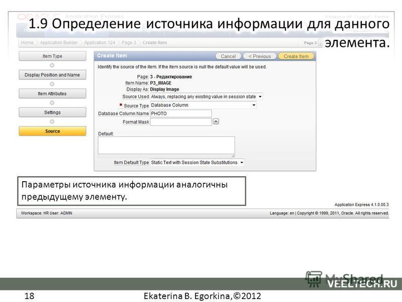 Ekaterina B. Egorkina,©2012 18 VEELTECH.RU Параметры источника информации аналогичны предыдущему элементу.