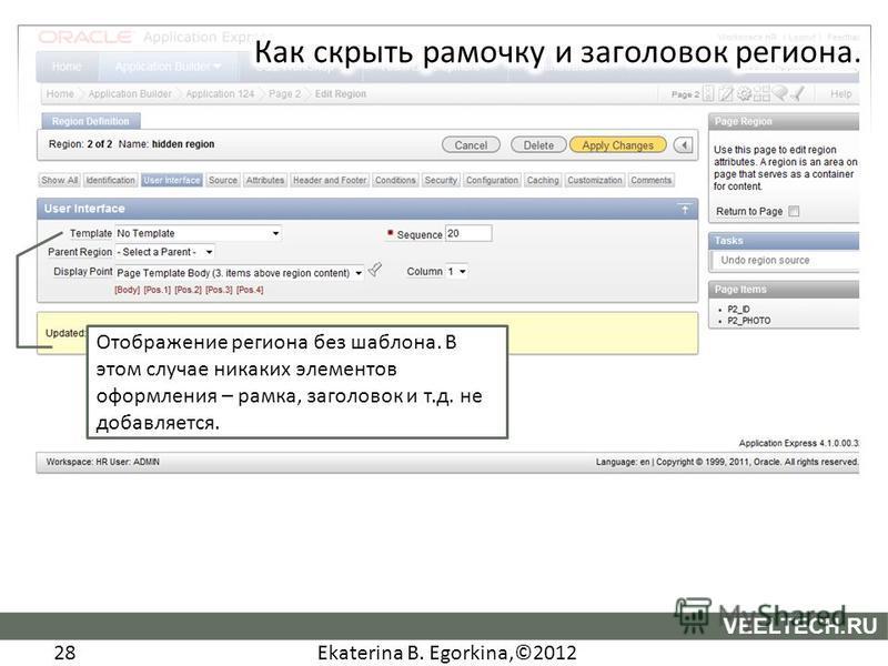 Ekaterina B. Egorkina,©2012 28 VEELTECH.RU Отображение региона без шаблона. В этом случае никаких элементов оформления – рамка, заголовок и т.д. не добавляется.