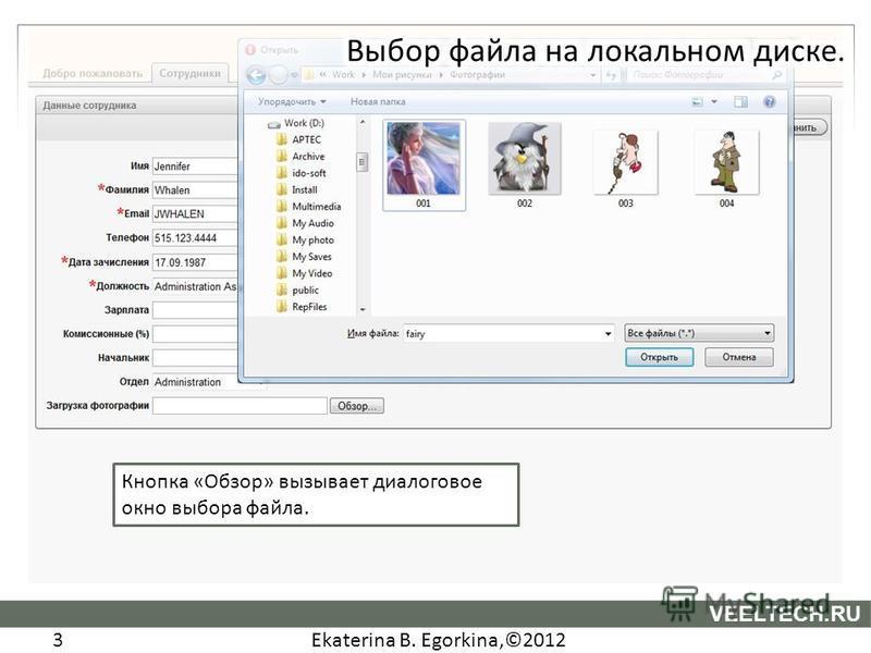 Ekaterina B. Egorkina,©2012 3 VEELTECH.RU Кнопка «Обзор» вызывает диалоговое окно выбора файла.
