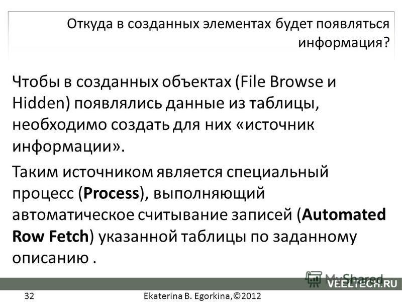 Ekaterina B. Egorkina,©2012 32 VEELTECH.RU Чтобы в созданных объектах (File Browse и Hidden) появлялись данные из таблицы, необходимо создать для них «источник информации». Таким источником является специальный процесс (Process), выполняющий автомати