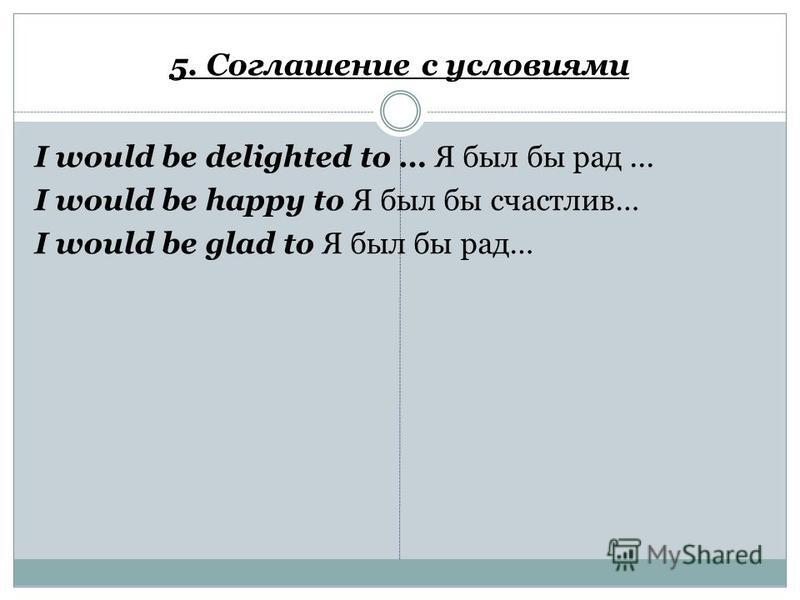 5. Соглашение с условиями I would be delighted to … Я был бы рад... I would be happy to Я был бы счастлив… I would be glad to Я был бы рад…