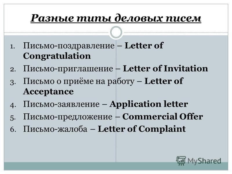Разные типы деловых писем 1. Письмо-поздравление – Letter of Congratulation 2. Письмо-приглашение – Letter of Invitation 3. Письмо о приёме на работу – Letter of Acceptance 4. Письмо-заявление – Application letter 5. Письмо-предложение – Commercial O