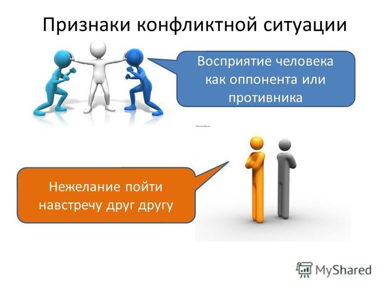 Признаки конфликтной ситуации Восприятие человека как оппонента или противника Нежелание пойти навстречу друг другу