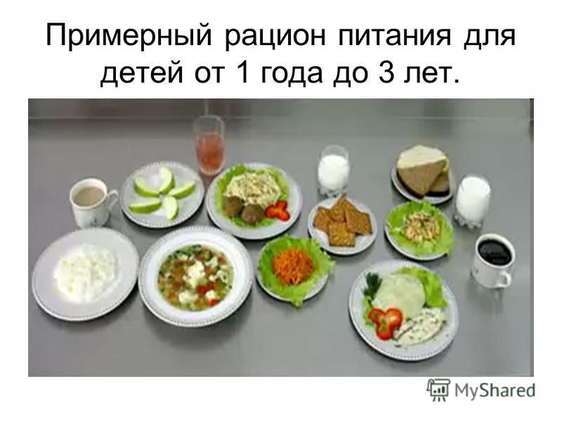 Примерный рацион питания для детей от 1 года до 3 лет.