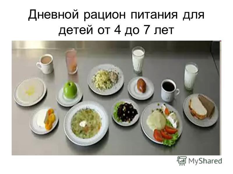 Дневной рацион питания для детей от 4 до 7 лет