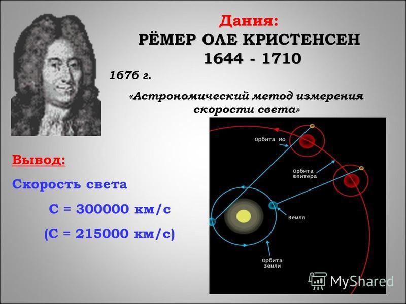 Дания: РЁМЕР ОЛЕ КРИСТЕНСЕН 1644 - 1710 1644 - 1710 1676 г. «Астрономический метод измерения скорости света» Вывод: Скорость света С = 300000 км/с (С = 215000 км/с)