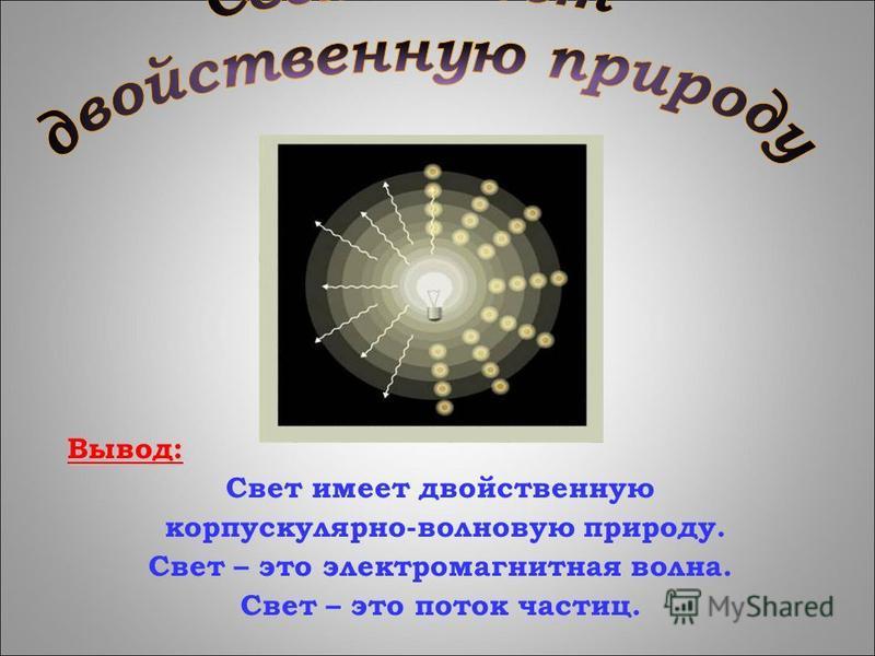 Вывод: Свет имеет двойственную корпускулярно-волновую природу. Свет – это электромагнитная волна. Свет – это поток частиц.