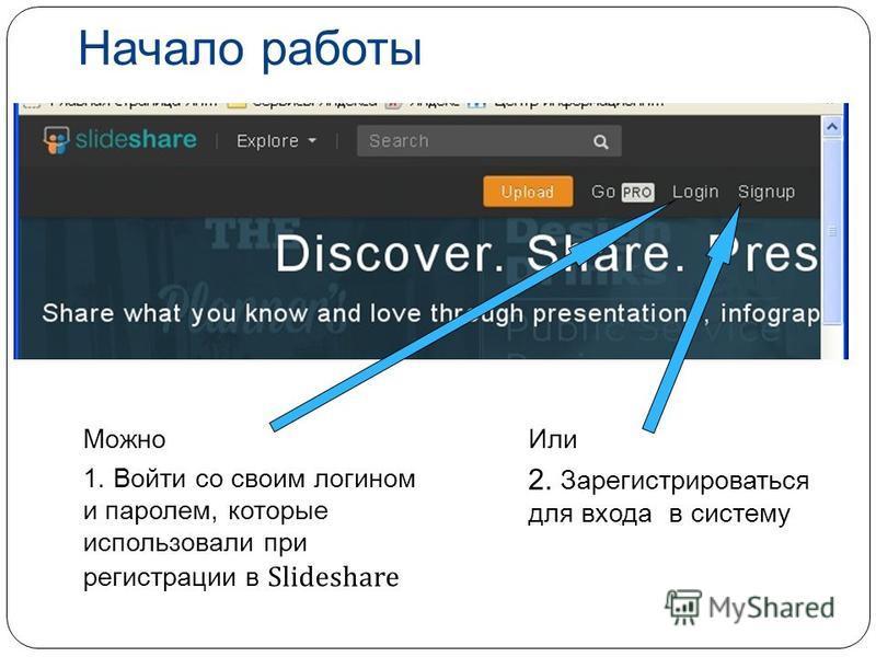 Или 2. Зарегистрироваться для входа в систему Можно 1. Войти со своим логином и паролем, которые использовали при регистрации в Slideshare Начало работы