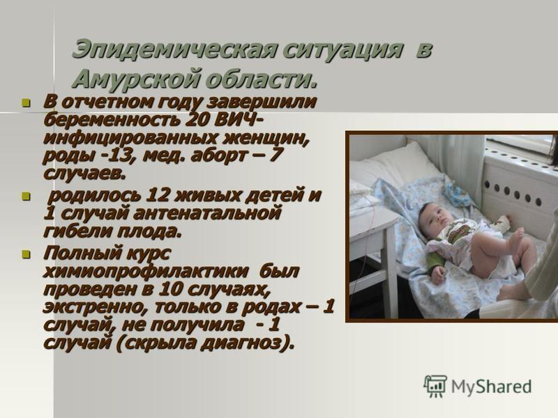 Эпидемическая ситуация в Амурской области. В отчетном году завершили беременность 20 ВИЧ- инфицированных женщин, роды -13, мед. аборт – 7 случаев. В отчетном году завершили беременность 20 ВИЧ- инфицированных женщин, роды -13, мед. аборт – 7 случаев.