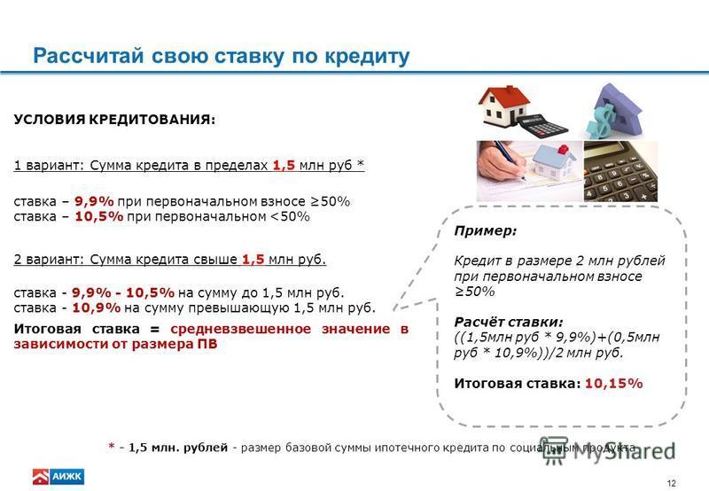 12 Рассчитай свою ставку по кредиту УСЛОВИЯ КРЕДИТОВАНИЯ: 1 вариант: Сумма кредита в пределах 1,5 млн руб * ставка – 9,9% при первоначальном взносе 50% ставка – 10,5% при первоначальном <50% 2 вариант: Сумма кредита свыше 1,5 млн руб. ставка - 9,9% -