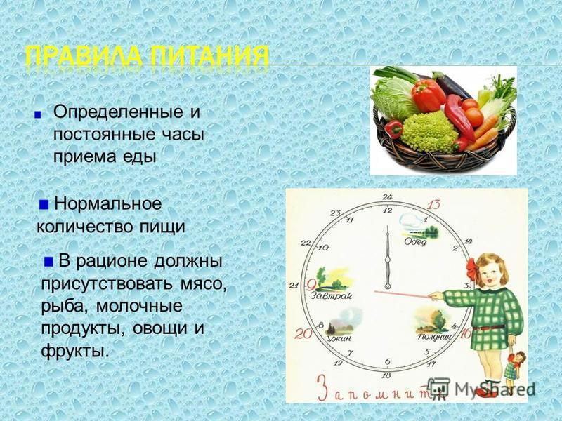 Определенные и постоянные часы приема еды Н ормальное количество пищи В рационе должны присутствовать мясо, рыба, молочные продукты, овощи и фрукты.