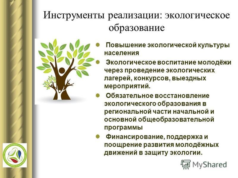 Инструменты реализации: экологическое образование Повышение экологической культуры населения Экологическое воспитание молодёжи через проведение экологических лагерей, конкурсов, выездных мероприятий. Обязательное восстановление экологического образов