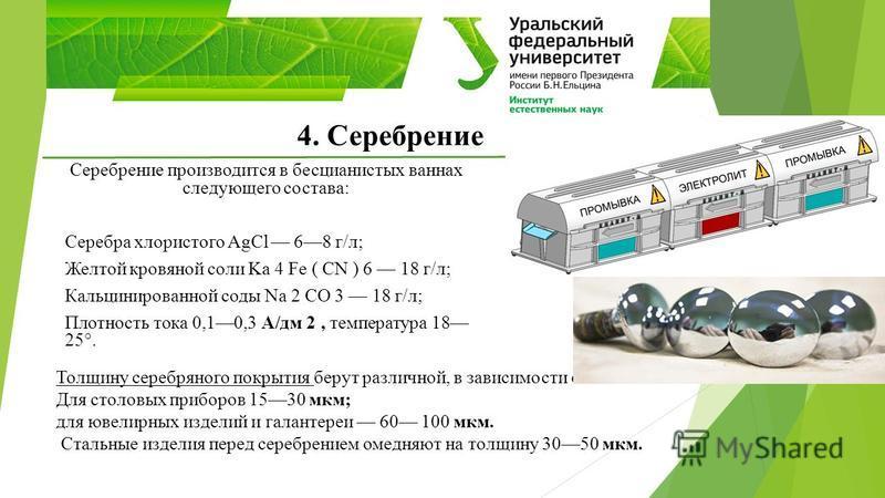 4. Серебрение Серебрение производится в бесцианистых ваннах следующего состава: Серебра хлористого AgCl 68 г/л; Желтой кровяной соли Ka 4 Fe ( CN ) 6 18 г/л; Кальцинированной соды Nа 2 СО 3 18 г/л; Плотность тока 0,10,3 А/дм 2, температура 18 25°. То