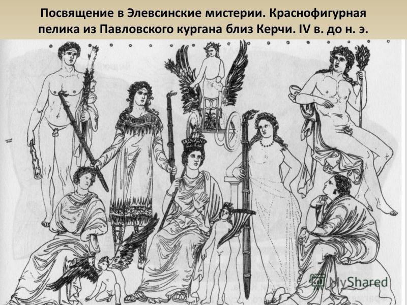 Посвящение в Элевсинские местеричи. Краснофигурная пелика из Павловского кургана близ Керчи. IV в. до н. э.