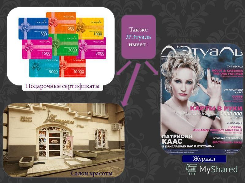 Так же Л Этуаль имеет : Журнал Салон красоты Подарочные сертификаты