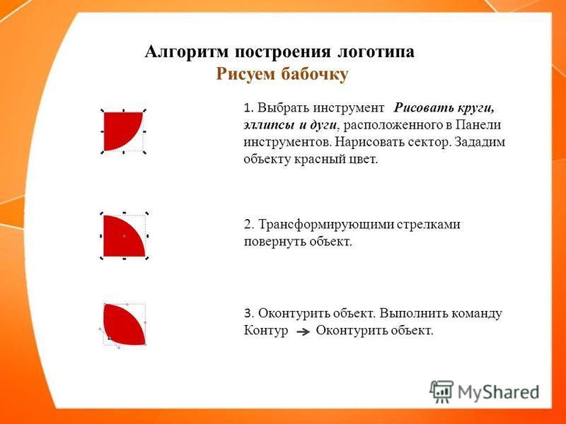 Алгоритм построения логотипа Рисуем бабочку 1. Выбрать инструмент Рисовать круги, эллипсы и дуги, расположенного в Панели инструментов. Нарисовать сектор. Зададим объекту красный цвет. 2. Трансформирующими стрелками повернуть объект. 3. Оконтурить об
