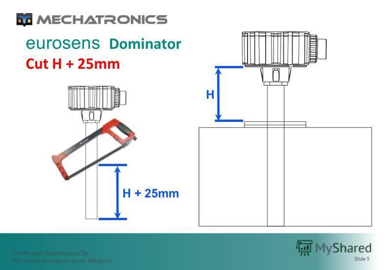 www.mechatronics.by We make transport more efficient! Slide 5 eurosens Dominator Cut H + 25mm H H + 25mm