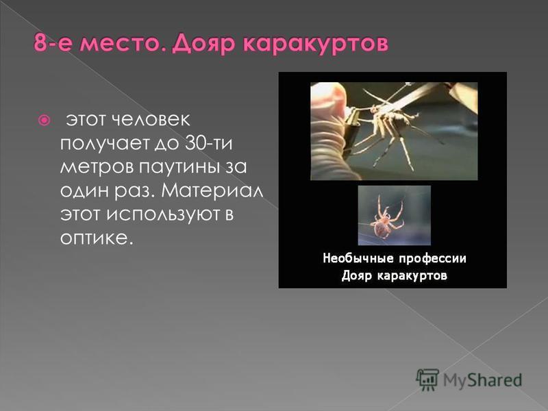 этот человек получает до 30-ти метров паутины за один раз. Материал этот используют в оптике.