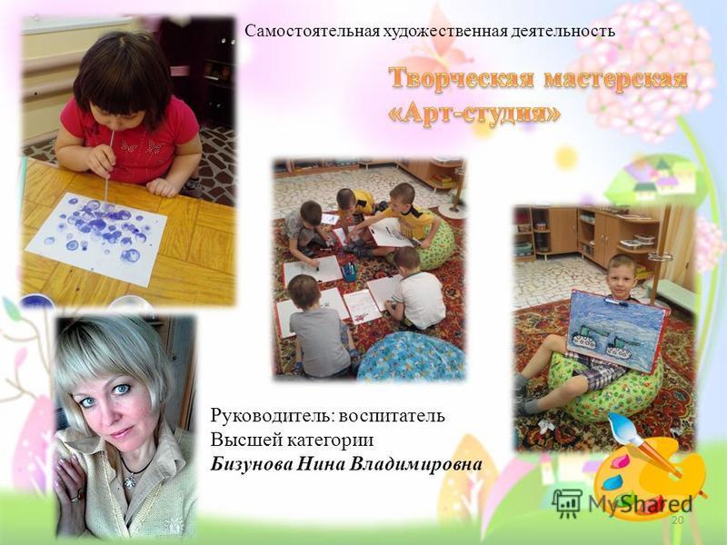 Самостоятельная художественная деятельность Руководитель: воспитатель Высшей категории Бизунова Нина Владимировна 20