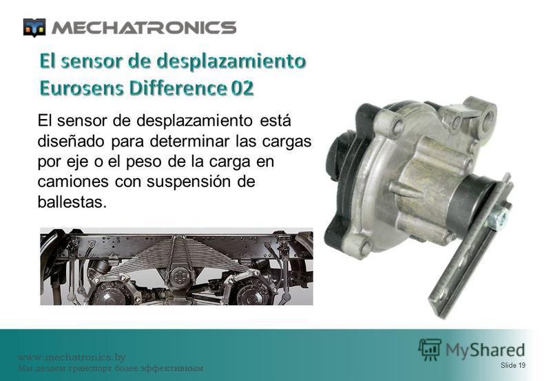 www.mechatronics.by Мы делаем транспорт более эффективным Slide 19 El sensor de desplazamiento está diseñado para determinar las cargas por eje o el peso de la carga en camiones con suspensión de ballestas.
