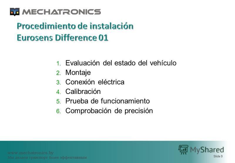 www.mechatronics.by Мы делаем транспорт более эффективным Slide 9 1. Evaluación del estado del vehículo 2. Montaje 3. Conexión eléctrica 4. Calibración 5. Prueba de funcionamiento 6. Comprobación de precisión