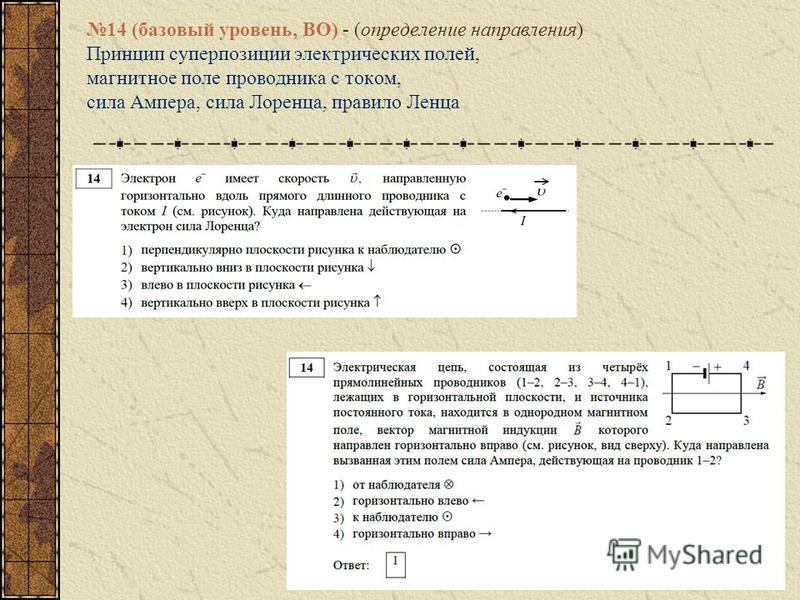 14 (базовый уровень, ВО) - (определение направления) Принцип суперпозиции электрических полей, магнитное поле проводника с током, сила Ампера, сила Лоренца, правило Ленца