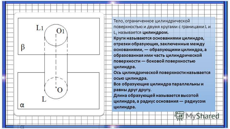 Тело, ограниченное цилиндрической поверхностью и двумя кругами с границами L и L 1 называется цилиндром. Круги называются основаниями цилиндра, отрезки образующих, заключенные между основаниями, образующими цилиндра, а образованная ими часть цилиндри
