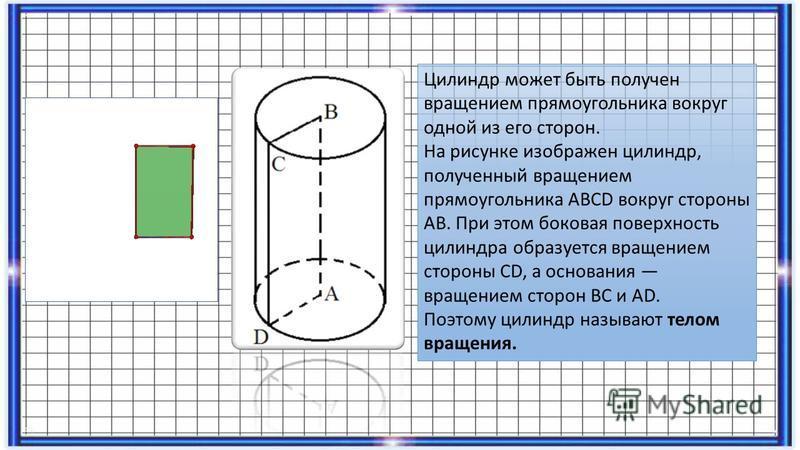 Цилиндр может быть получен вращением прямоугольника вокруг одной из его сторон. На рисунке изображен цилиндр, полученный вращением прямоугольника АВСD вокруг стороны АВ. При этом боковая поверхность цилиндра образуется вращением стороны СD, а основан