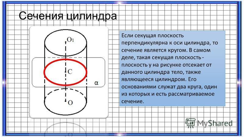 Сечения цилиндра Если секущая плоскость перпендикулярна к оси цилиндра, то сечение является кругом. В самом деле, такая секущая плоскость - плоскость y на рисунке отсекает от данного цилиндра тело, также являющееся цилиндром. Его основаниями служат д
