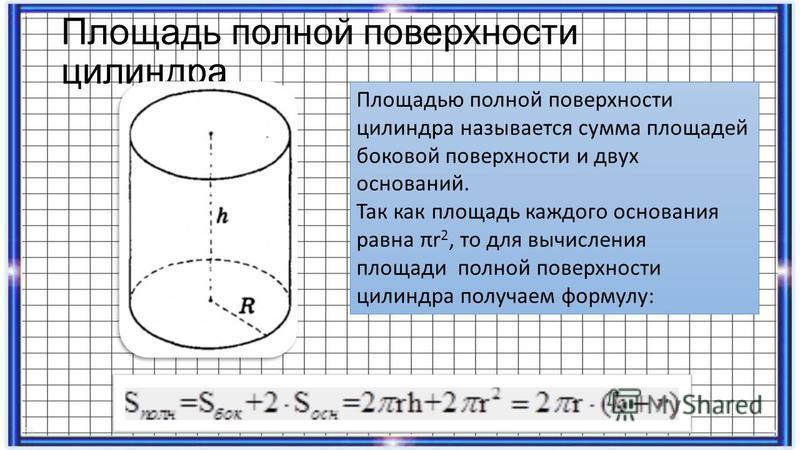 Площадь полной поверхности цилиндра Площадью полной поверхности цилиндра называется сумма площадей боковой поверхности и двух оснований. Так как площадь каждого основания равна πr 2, то для вычисления площади полной поверхности цилиндра получаем форм