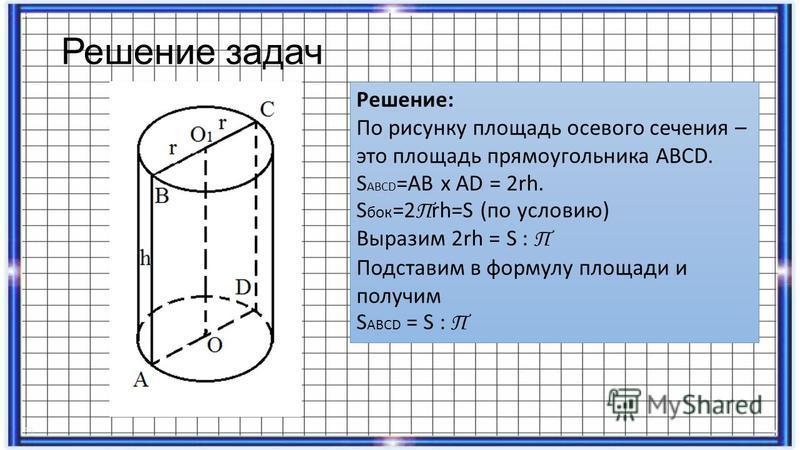 Решение задач Решение: По рисунку площадь осевого сечения – это площадь прямоугольника ABCD. S ABCD =AB x AD = 2rh. S бок =2 П rh=S (по условию) Выразим 2rh = S : П Подставим в формулу площади и получим S ABCD = S : П