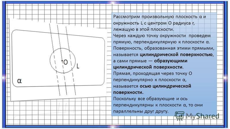 Рассмотрим произвольную плоскость α и окружность L с центром О радиуса r, лежащую в этой плоскости. Через каждую точку окружности проведем прямую, перпендикулярную к плоскости α. Поверхность, образованная этими прямыми, называется цилиндрической пове